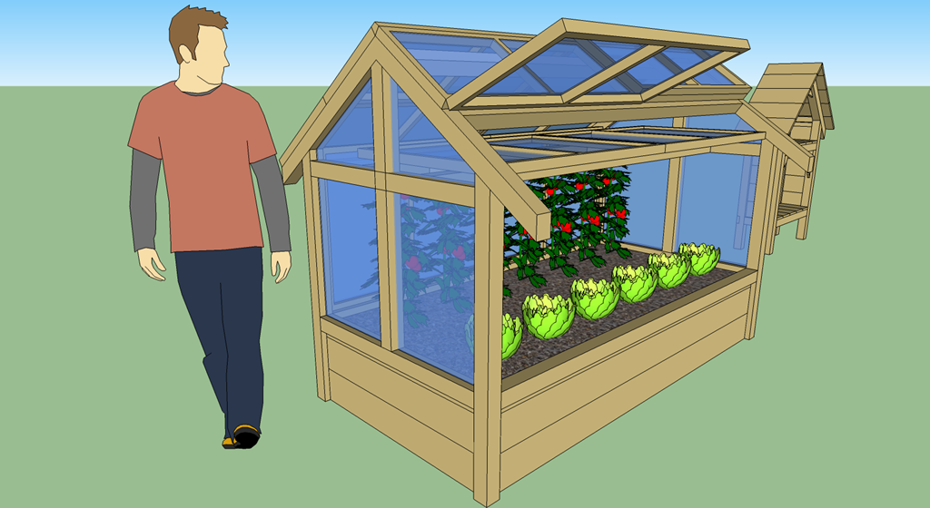 Une serre version potager en carr s 2 0 mon potager en - Fabriquer une petite serre de jardin ...