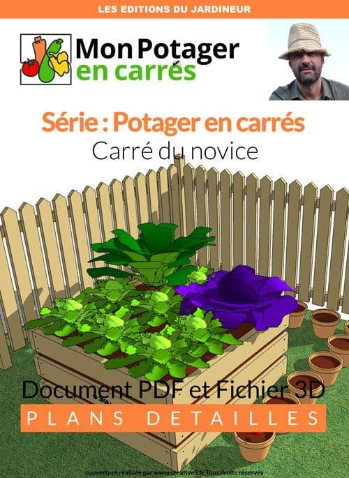 Plan PDF d'un carré de potager de 1,20 m par 1,20 m pour jardinier novice