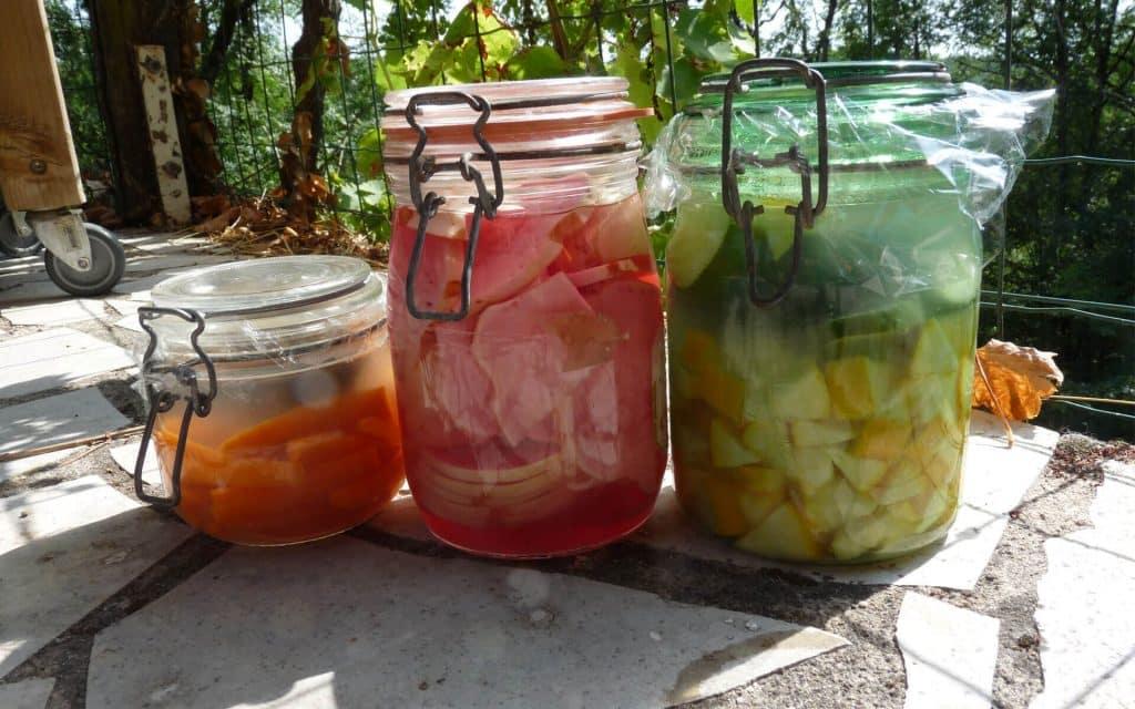 Légumes lacto-fermentés : carottes, choux rave et courgettes