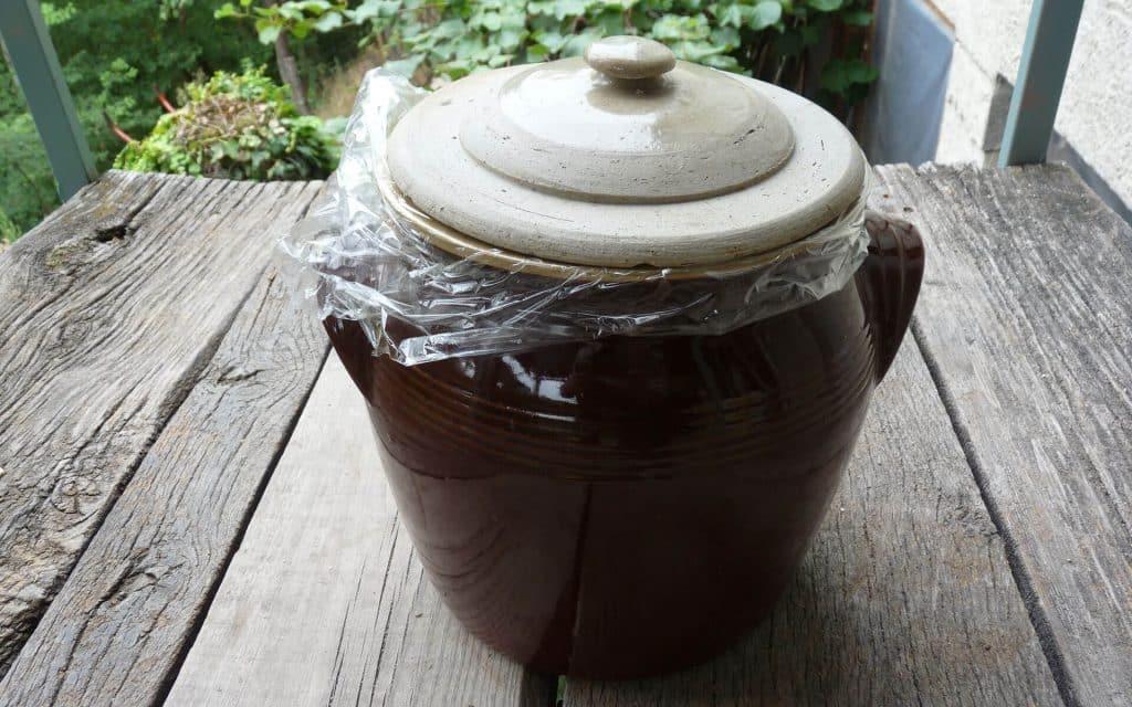 Lorsque l'ouverture du pot est plus restreinte, vous pouvez utiliser des galets. De plus, pour les pot en grès sans joint hydraulique, il faut recréer une étanchéité à l'air avec un cellophane par exemple.