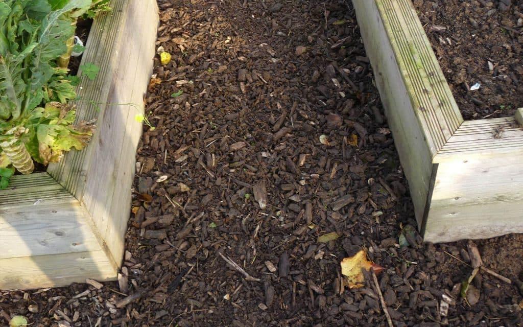 Ici les allées sont en broyat de bois, c'est un compromis idéal entre la durabilité, la fertilité et l'esthétique.