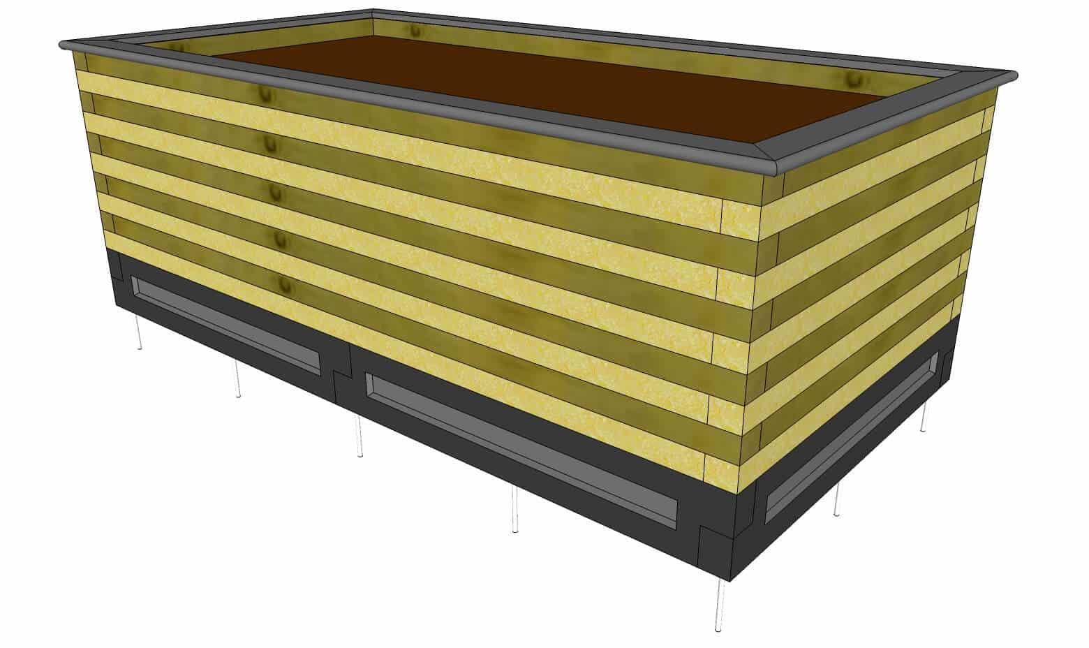 Pour résoudre les problèmes liés au pourrissement du bois, les potager surélevés sont maintenant posés sur une fondation en béton.